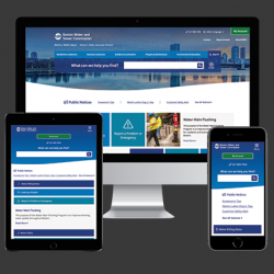 A desktop, tablet, and mobile device showing BWSC's new website