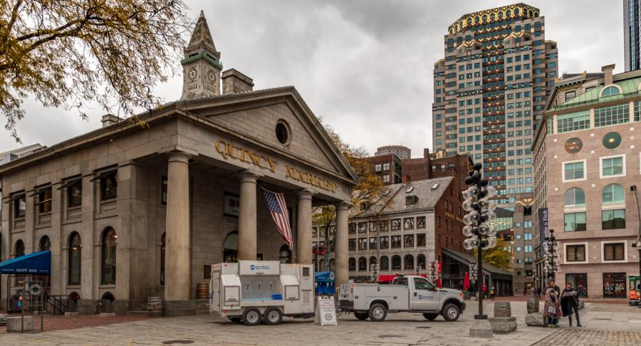 BWSC's water truck parked at Quincy Market
