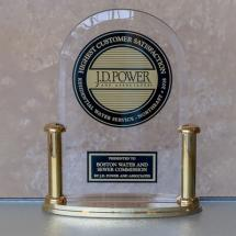 A trophy from JD Power for BWSC's award-winning customer satisfaction