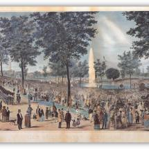 A historic drawing the Water Celebration in Boston Common, 1848