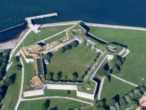 An aerial image of Castle Island in South Boston